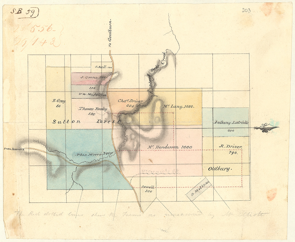 Camden County - The red dotted lines show the Farm's as measured by Mr Elliot. Henderson 2000 acres, Langs 1000 acres at Black Bobs Creek and Drivers 790 acrres. [Sketch book 1 folio 59]