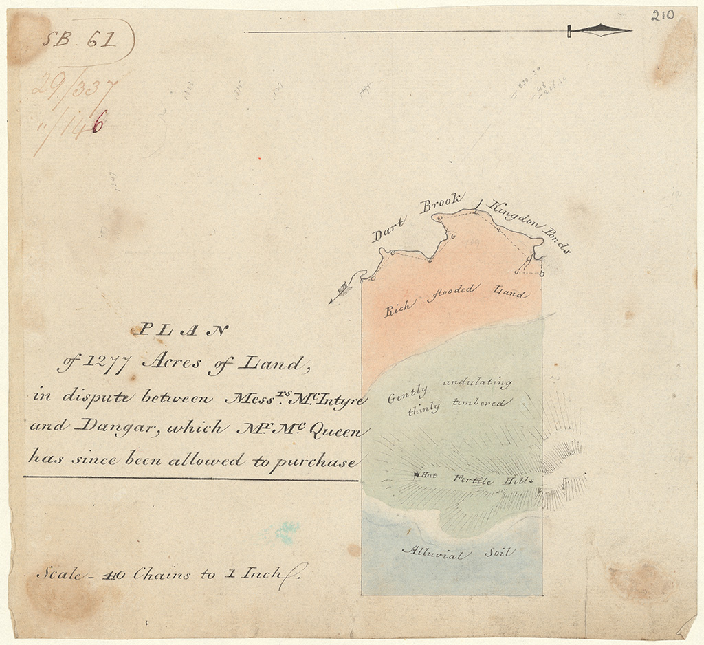 Brisbane County - Plan of 1277 acres of land in dispute between Messrs McIntyre and Dangar, which Mr McQueen has since beeen allowed to purchase [Sketch book 1 folio 61]