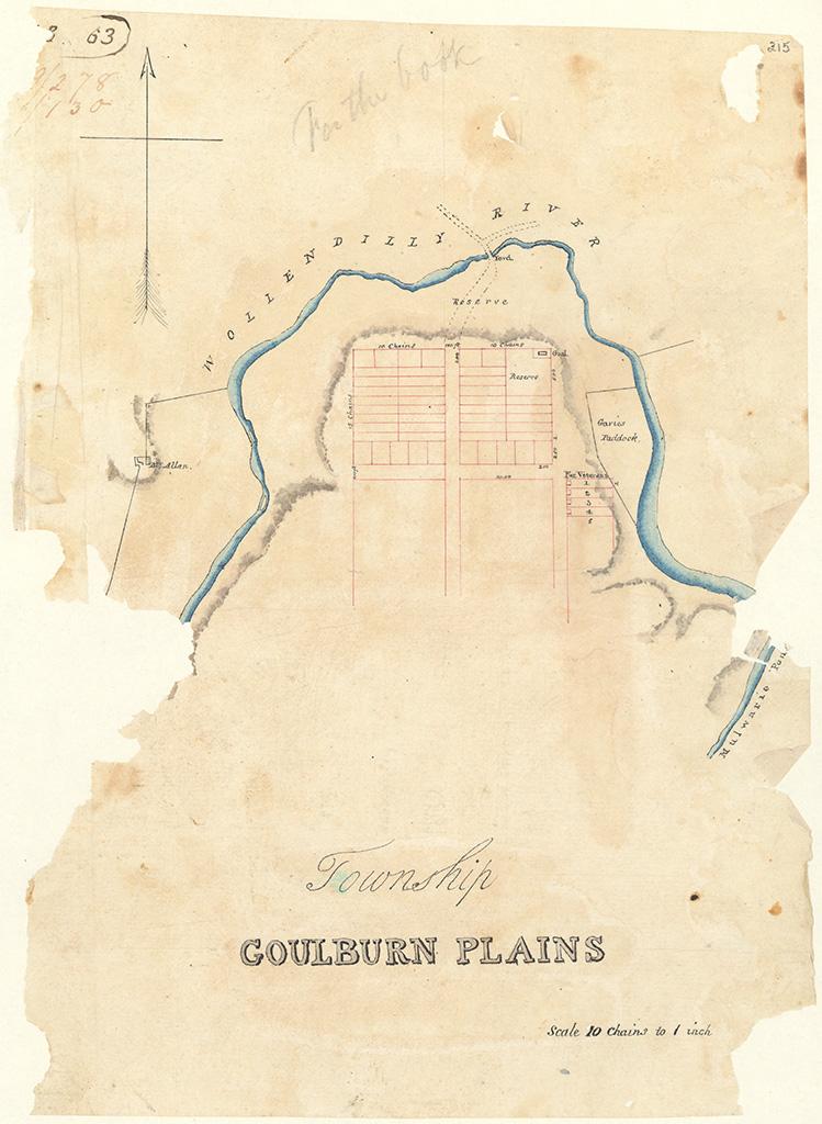 Goulburn Plains - Township Goulburn Plains Wollendilly River [Sketch book 1 folio 63]