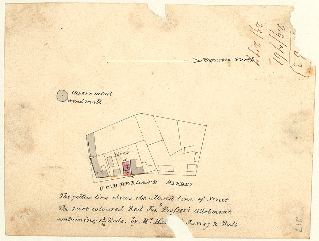 Sydney St Phillip - Government windmill Cumberland St. The yellow shews the altered line of street. The part coloured Red Josh [Joseph] Prosser's [Sketch book 1 folio 63]
