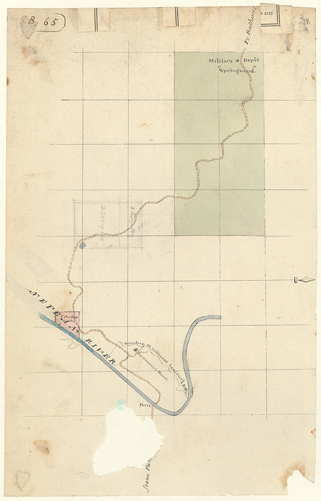 Cook County - Road from ferry at Nepean River also shewing Forbes 130 acres to Springwood. Military Depot Springwood. [Skecth book 1 folio 65]