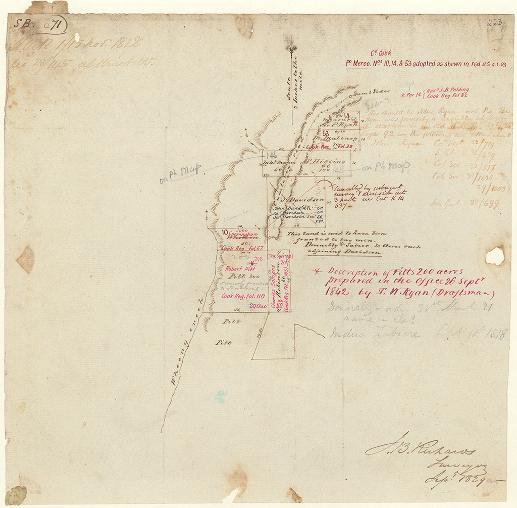 Cook County - This land is said to have been granted  to two men - Donelly and Sabier 30 acres each adjoining Davidson. Pitts 200 acres at Wheeney Creek. [Sketch book 1 folio 71]