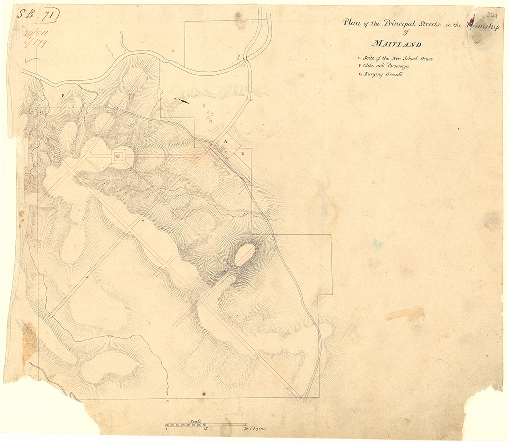 Maitland East - Plan of the principal streets in the Township of Maitland Y: Suite of the New School House F: Glebe G: Burying Ground [Sketch book 1 folio 71]