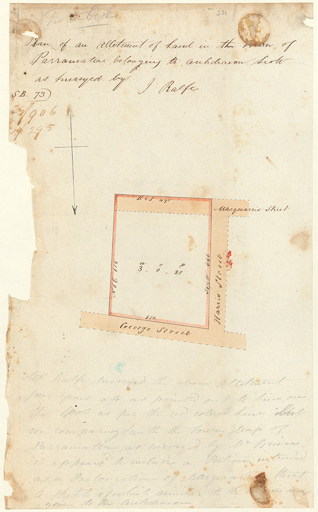 Parramatta - Plan of an allotment of land in the town of Parramatta belonging to Archdeacon Scott as surveyed by J. Ralfe [Sketch book 1 folio 73]