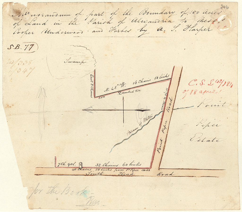 Cumberland County Alexandria - Memorandum of part of the boundary of 100 acres of land in the Parish of  Alexandria to Messrs Underwood and Forbes by A. T. Harper. Point Piper Estate [Sketch book 1 folio 77]