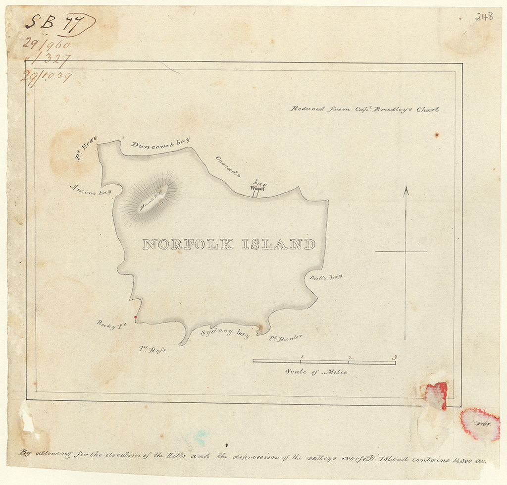 Norfolk Island - By allowing for the elevation of the Hills and the depression of the valleys Norfolk Island contains 14000ac [acres] [Sketch book 1 folio 77]