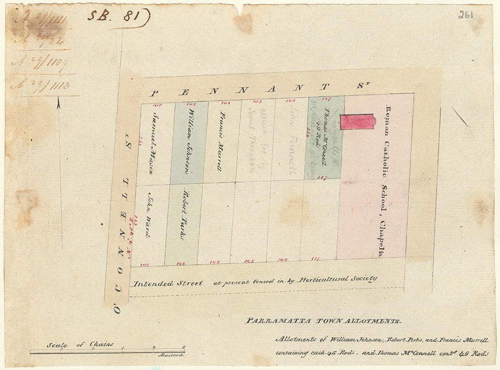 Parramatta - Parramatta Town Allotments - Allotments of William Johnson, Robert Parkes and Francis Murrell containing each 45 rods and Thomas McConnell Contg [containing] 49 Rods [Sketch book 1 folio 81]
