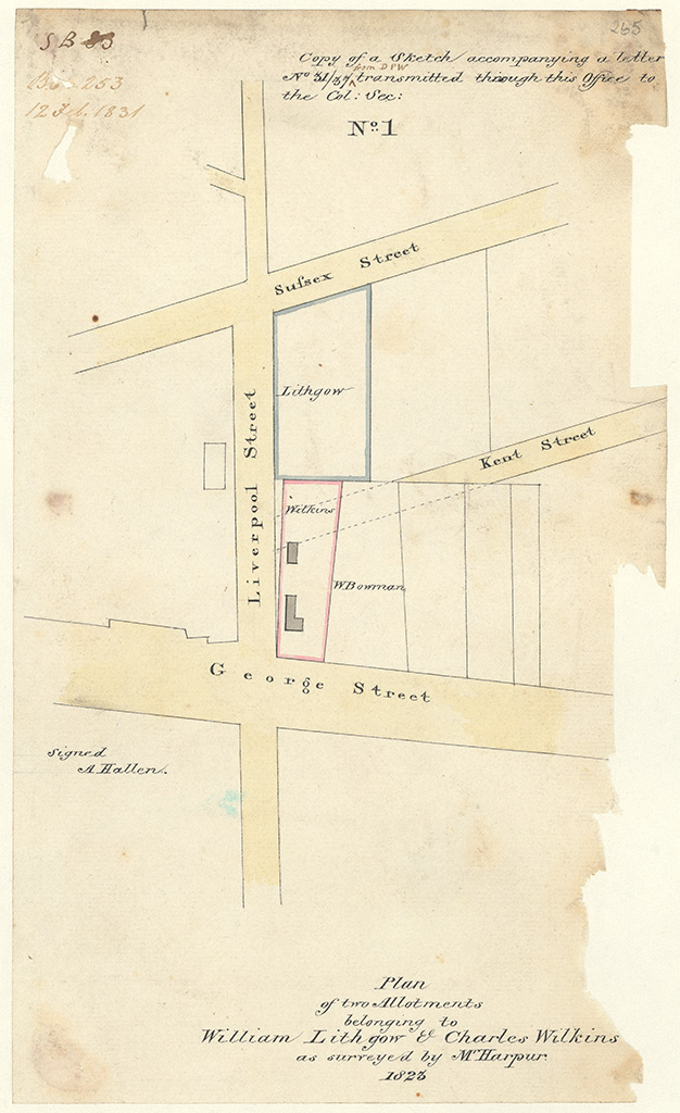 Sydney St Andrew - Plan of two allotments belonging to William Lithgow and Charles Wilkins as surveyed by Mr Harpur 1823 [Sketch book 1 folio 83]
