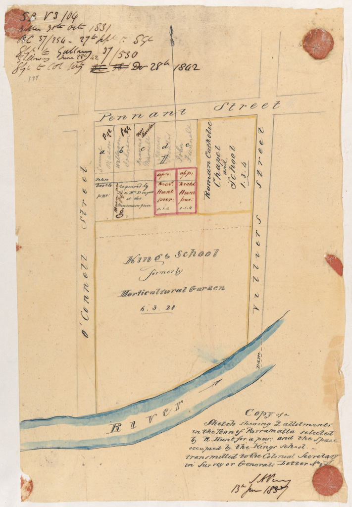 Parramatta - Two lots adjoining Kings School selected by Hunt for a purchase  [Sketch book 3 folio 104]