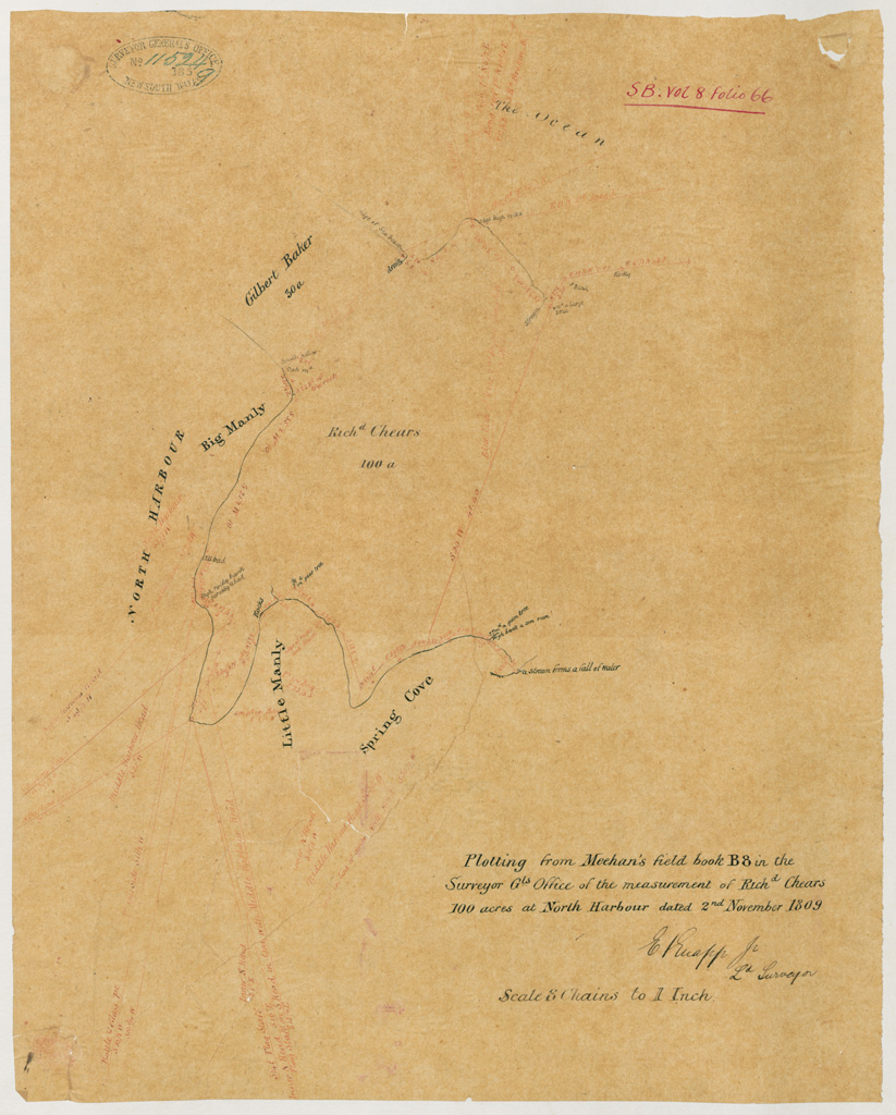 Manly - Plotting from Meehan's field book B8 in the Surveyor Gls [General's] office of the measuement of Richd [Richard] Chears 100 acres at North Harbour [Sketch book 8 folio 66]