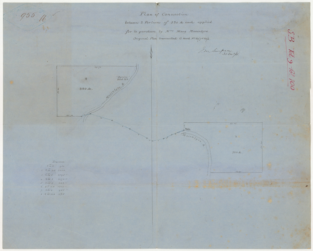 MacIntyre River - Plan of connection bewteen 2 portions of 320 Ac ...