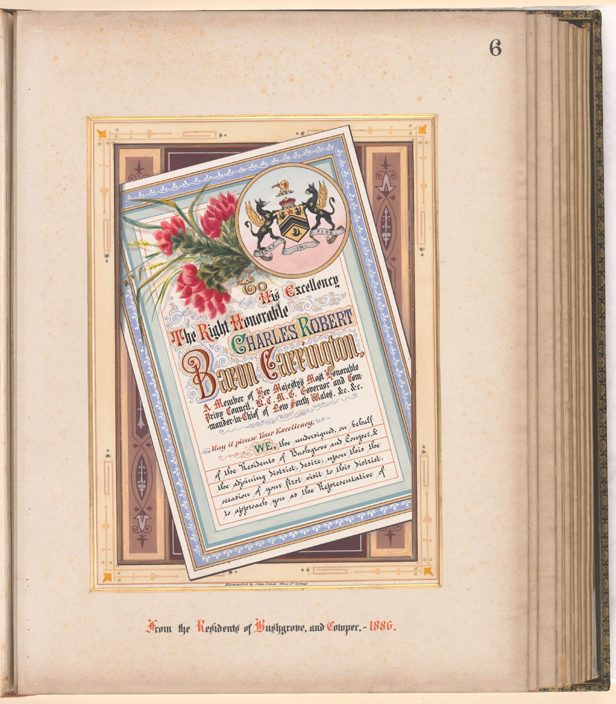 06 Album of Addresses presented to Lord Carrington as Governor of New South Wales - From the Residents of Bushgrove and Cowper 1886