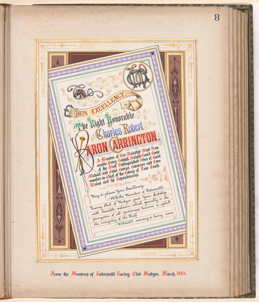 08 Album of Addresses presented to Lord Carrington as Governor of New South Wales - From the Members of Tattersall's Racing Club Mudgee March 1886