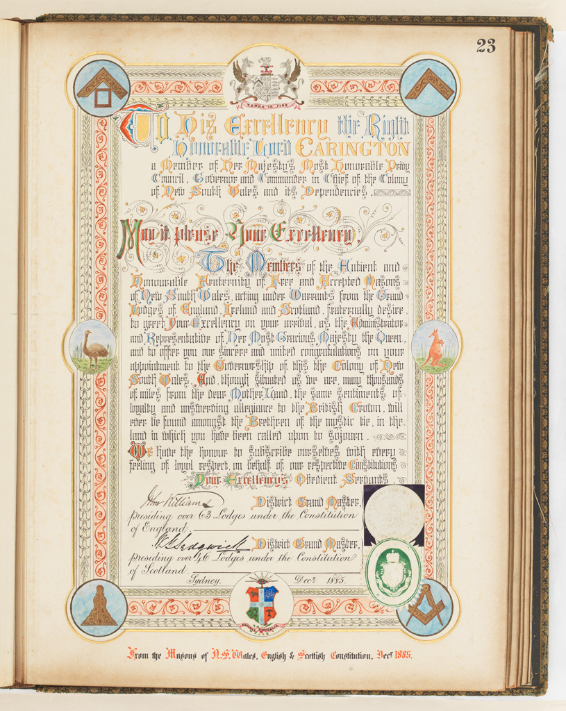 23 Addresses Presented to Lord Carrington Governor of New South Wales 1886 No. 2, Address From the Masons of N.S.Wales English and Scottish Constitution