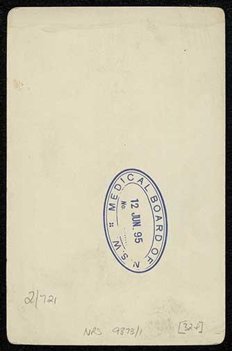 Photograph of Alfred Herbert Horsfall doctor [reverse]