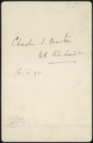 Photograph of Charles James Martin doctor [reverse]