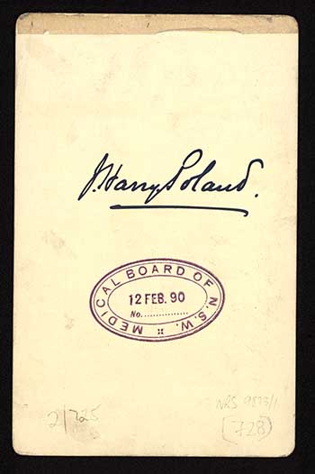 Photograph of James Harry Poland doctor [reverse]