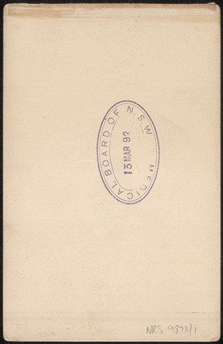 Photograph of Frank Tidswell doctor [reverse]