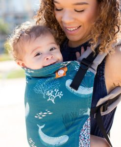 Tula Narwhal baby carrier with whales and coral