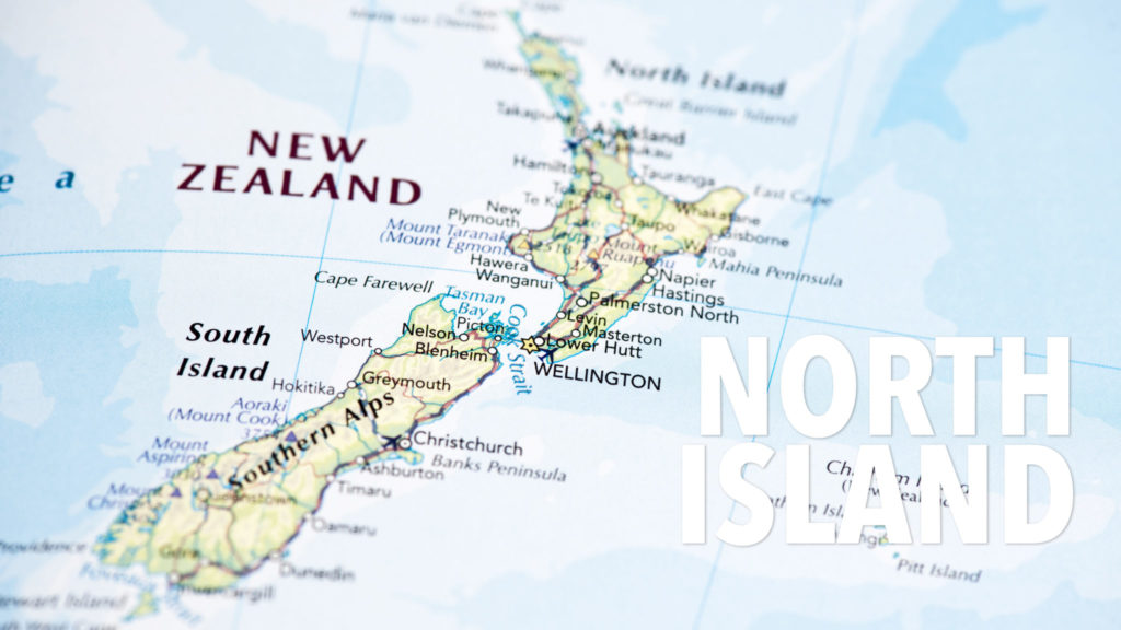 Photo map of New Zealand. Shallow depth of field, focus on the Wellington city of the map and the area nears it.
