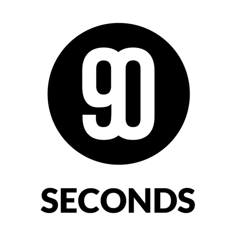 90 seconds logo black on white