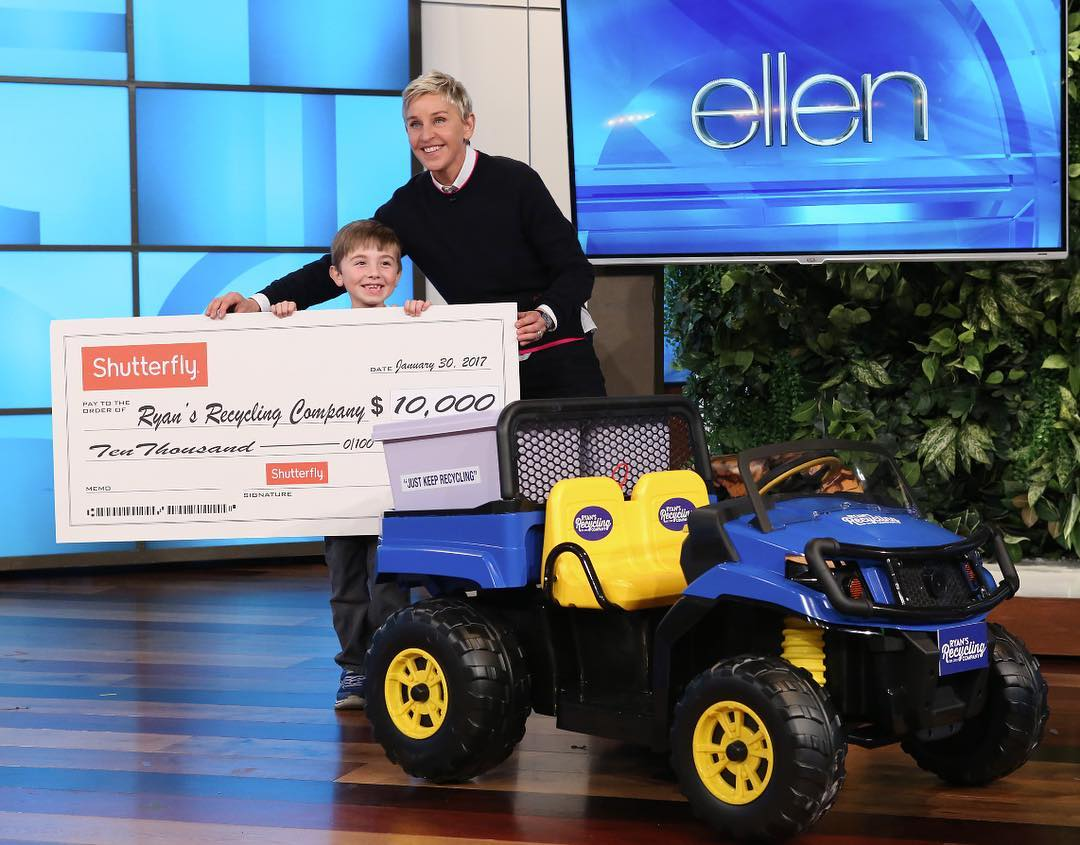 Ellen DeGeneres helps young boy fund recycling business