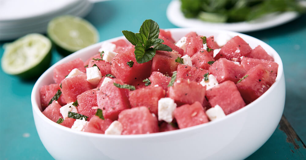Watermelon, mint feta and lime for healthy summer fruits salad