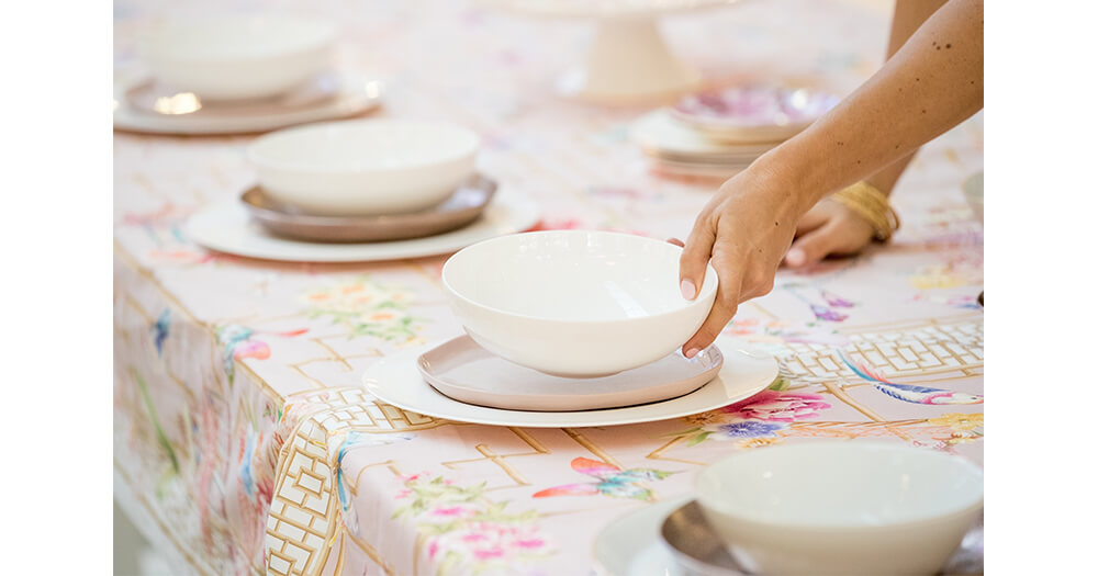 Festive napery, tablecloths and table setting
