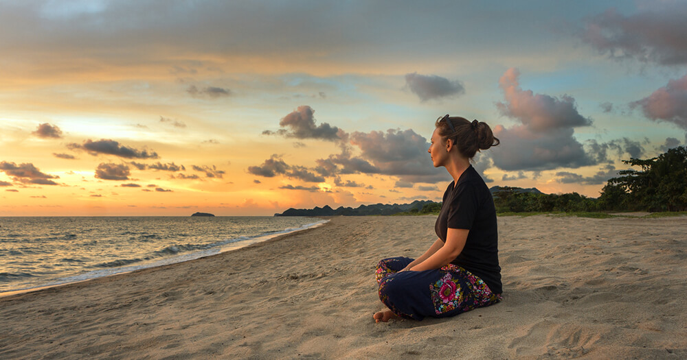 Meditation on a beach is an effective form of compassion fatigue prevention