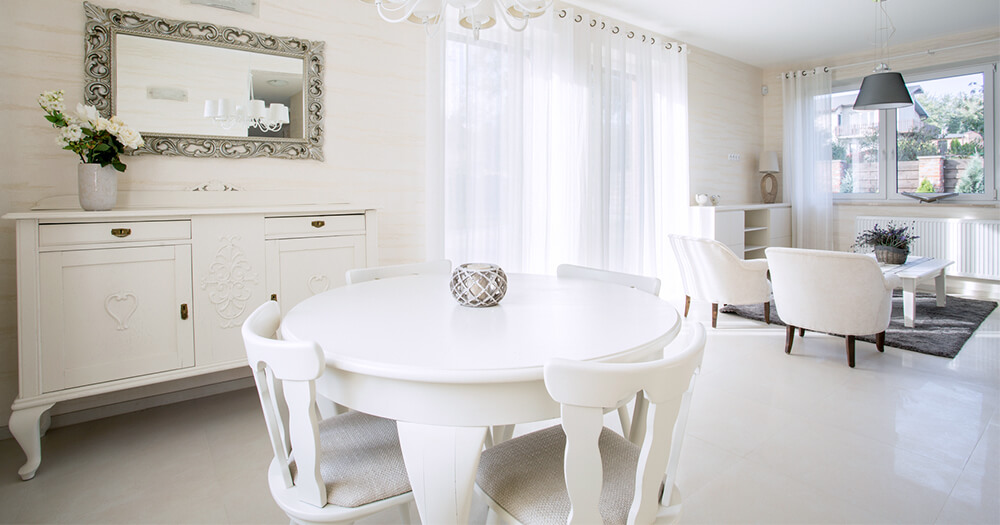 White on white dining room interior