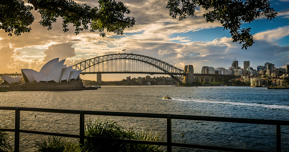 Sydney Harbor Bridge and Opera House sunset view