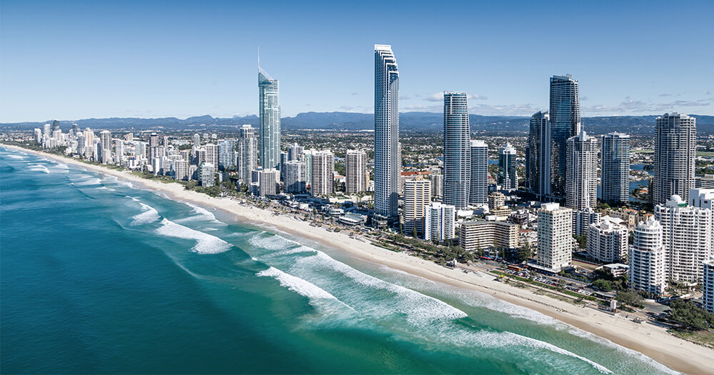 Gold Coast beaches aerial view