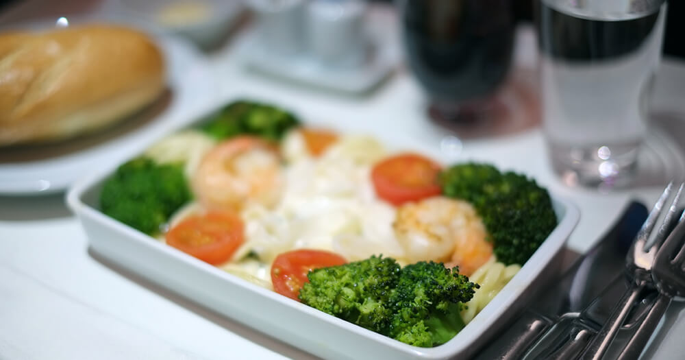 Plane food, healthy vegetables