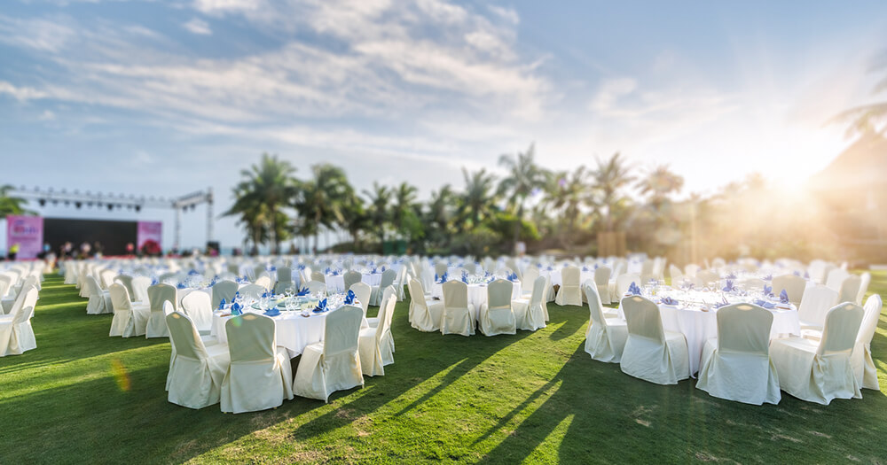 Wedding ceremony, events, conference and reception venue, outdoor setting on grass