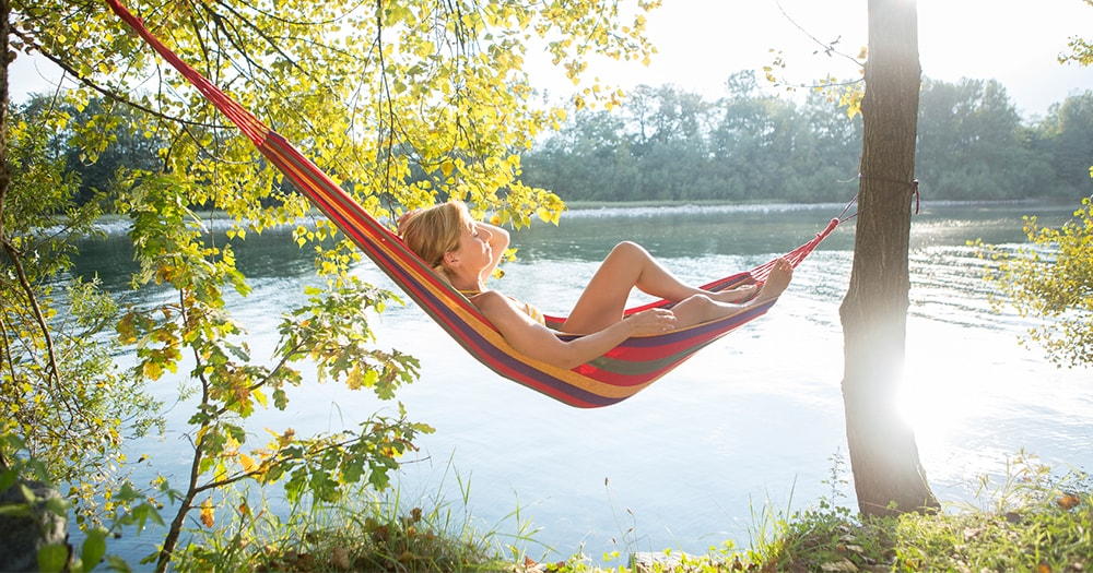 Health tips - Girl close to nature - lying on hammock