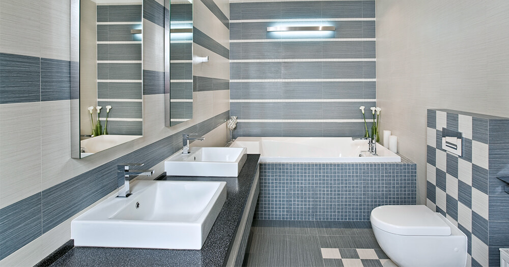 Mosaic bathroom with different patterns