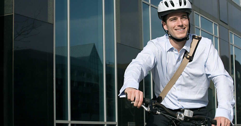 Man will make a good impression by arriving to work early on bike