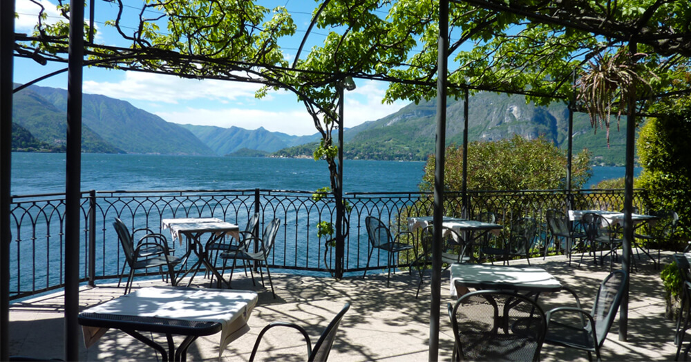 Beautiful European mountain landscape from a restaurant with a view of the sea