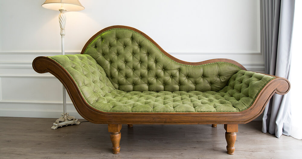 Tufted upholstery - green sofa