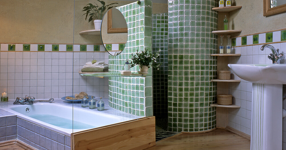 Cool and beautiful bathroom, green tiles, mosaic, unique