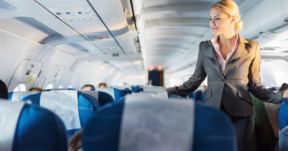 Female flight attendant works in jobs that involve travel