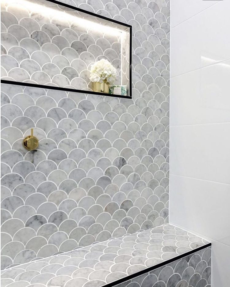 5 bathroom and kitchen tile trends you 39 ll love in 2017 for Fish scale tiles bathroom