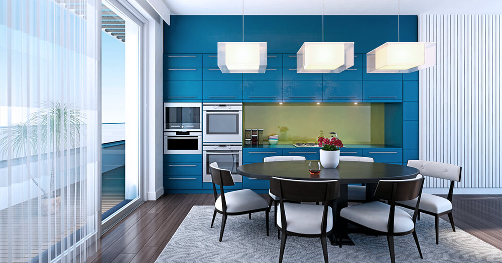 Blue and teal kitchen cabinets
