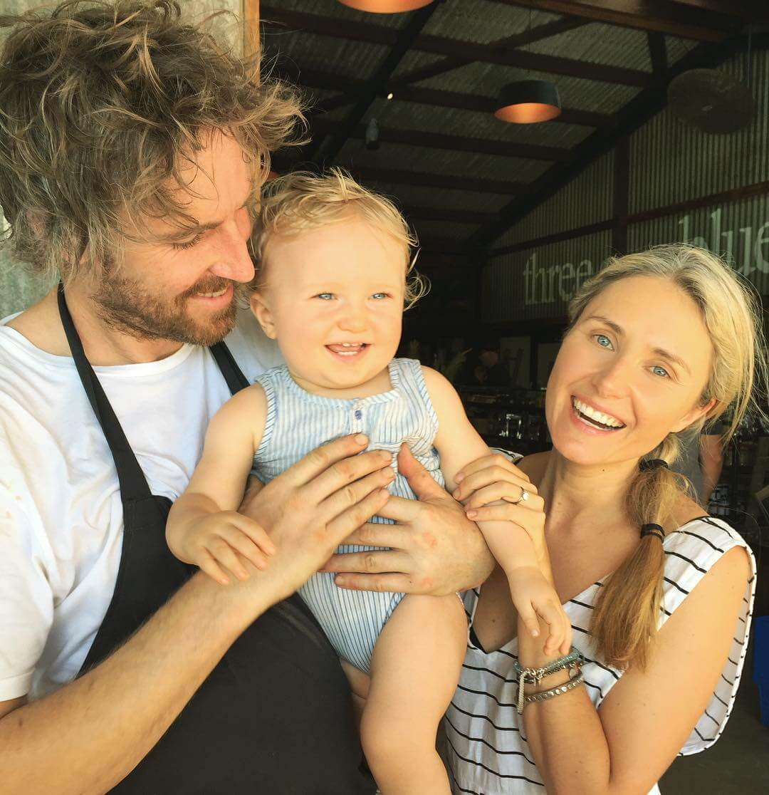 Darren, Magdalena and baby at Three Blue Ducks Byron Bay