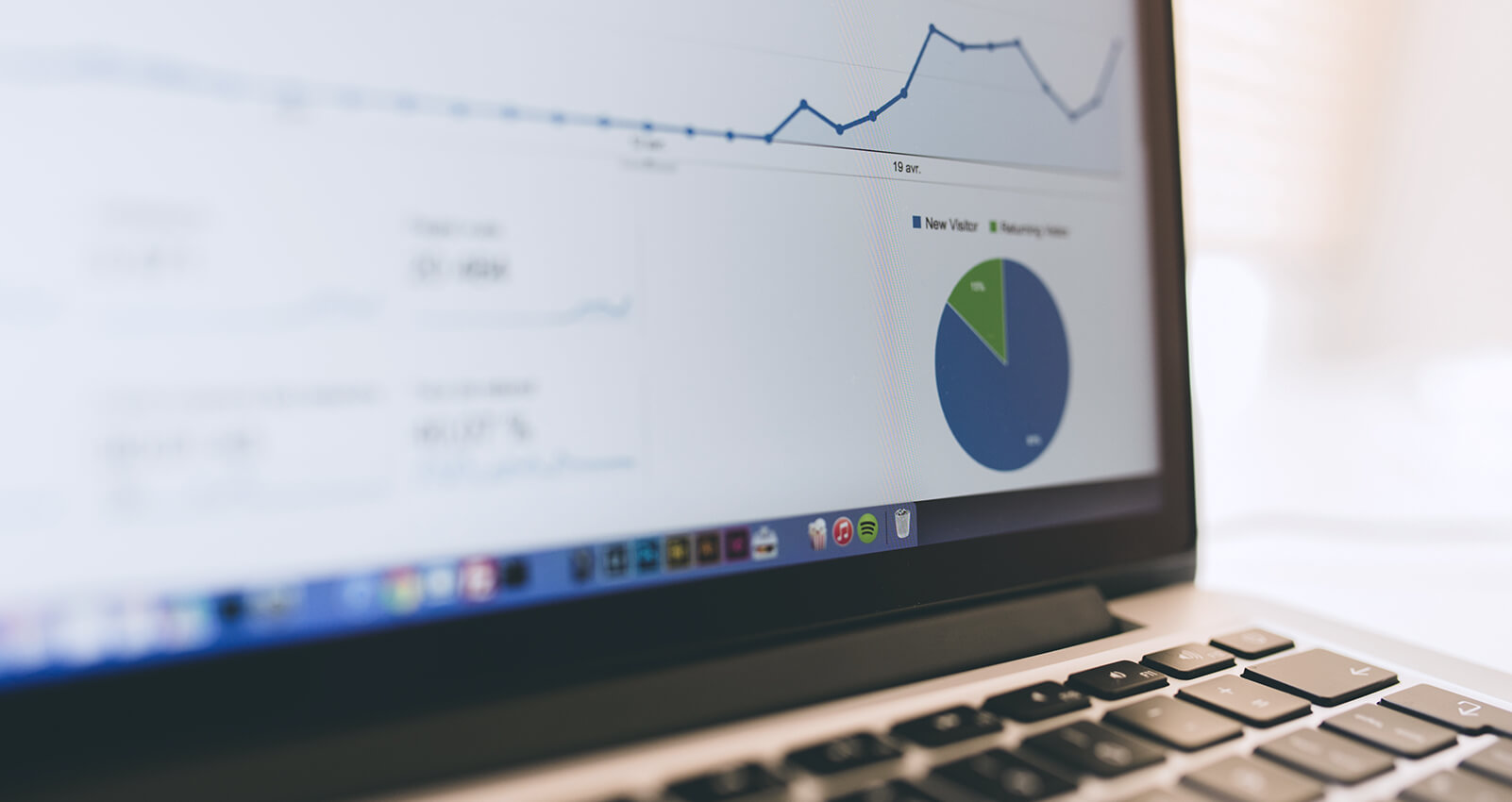 Google Analytics dashboard of positive site metrics and visitors