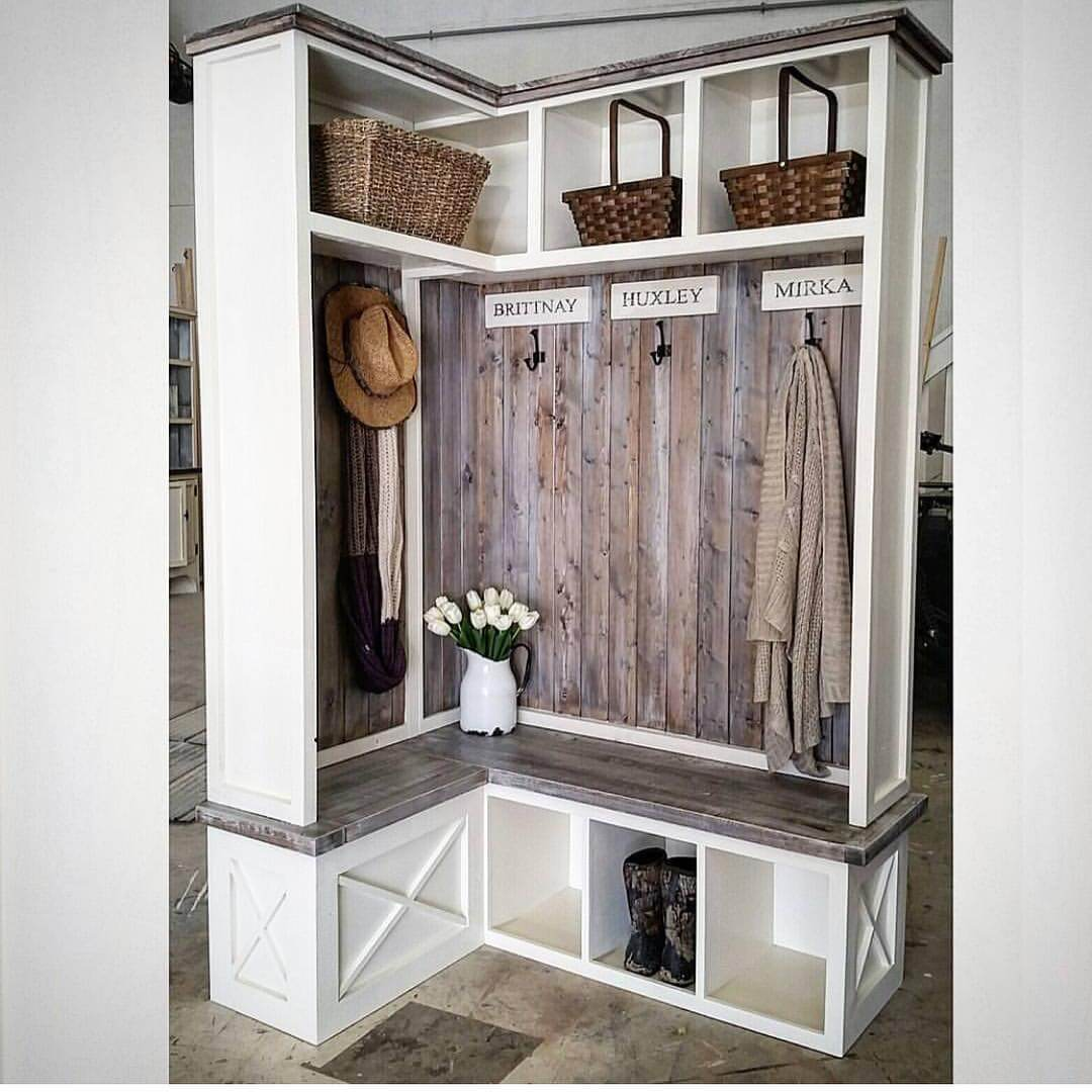 Beautiful mudroom design ideas storage corner shelf with hat on hook and flower vase