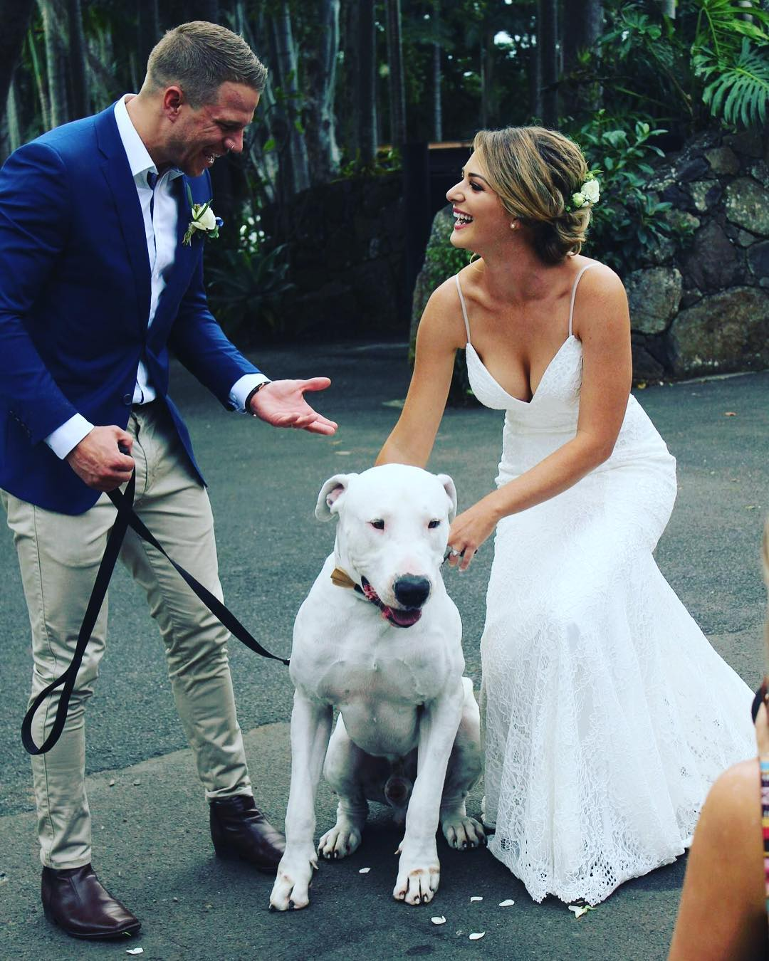 Bride and groom surprised by their pet dog at wedding ceremony