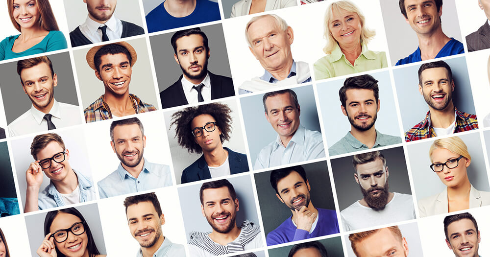 Portrait collage of a range of people from males, females, hipsters, older gentlemen, business professionals, young entrepreneurs, students and class career women