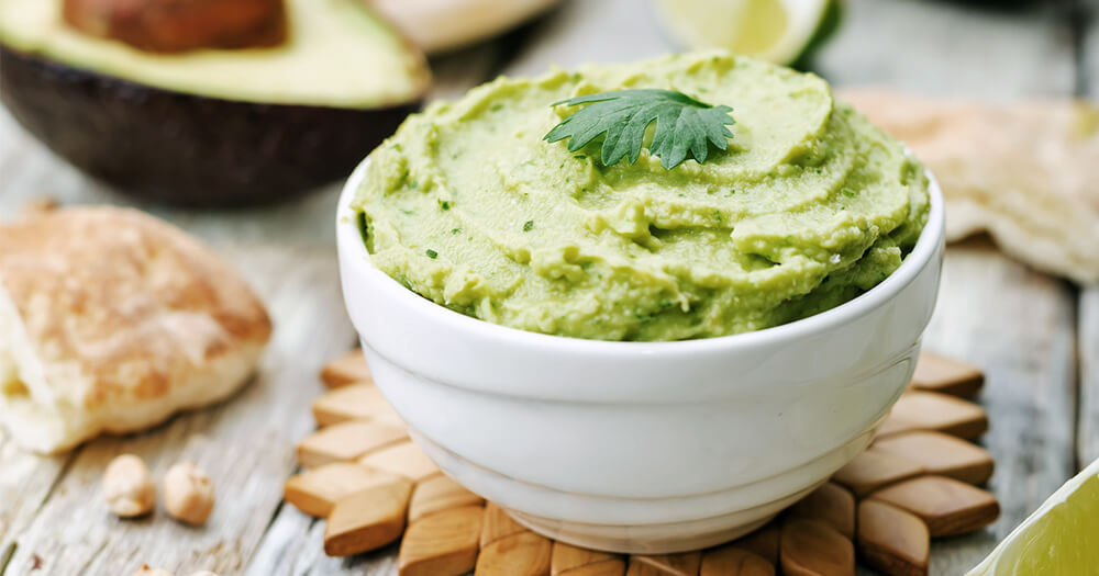 Avocado hummus healthy travel snack