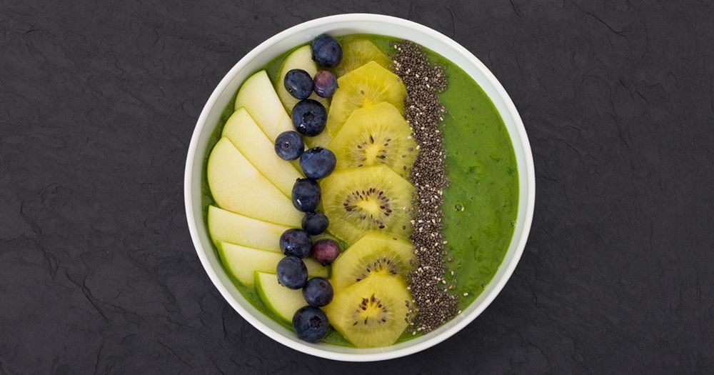Healthy chia seeds with kiwi fruit and blueberries